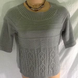 WORTHINGTON Gray Shimmer Cable Knit Sweater L